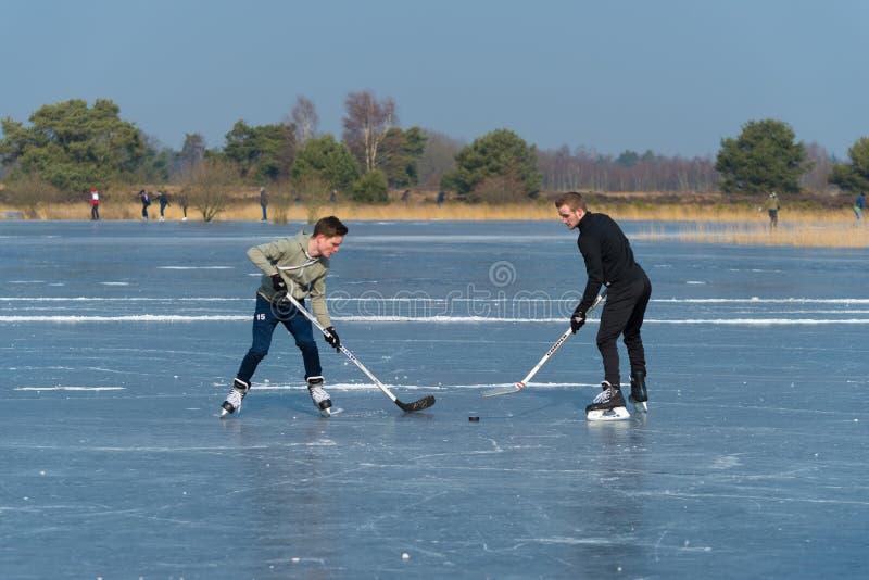 Spielen von Eishockey lizenzfreies stockfoto