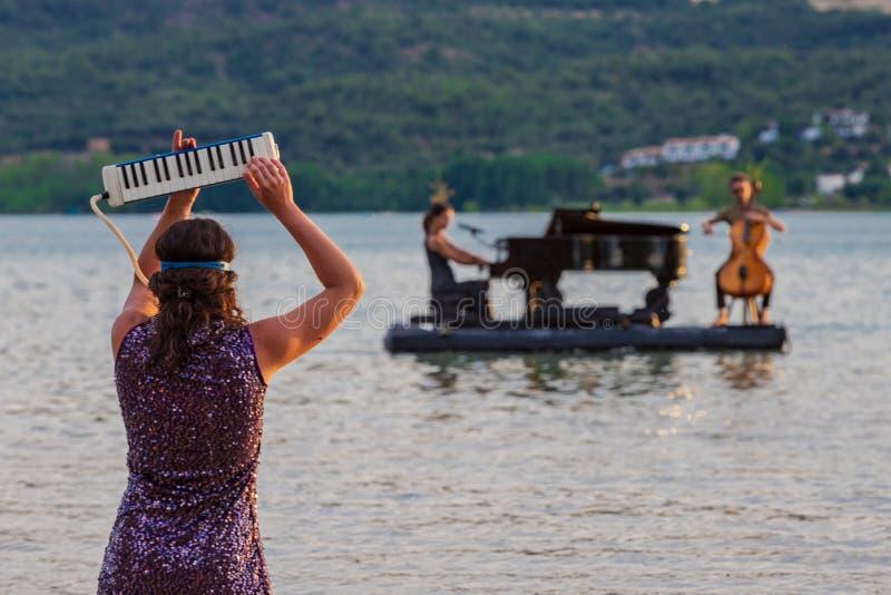 Spielen von Instrumenten auf dem See lizenzfreies stockfoto