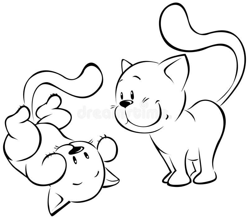 Spielen von Kätzchenskizze lizenzfreie abbildung