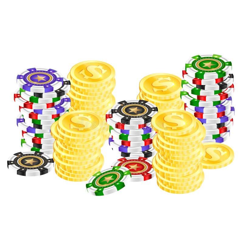 Spielende Chips und Goldmünzen lizenzfreie abbildung