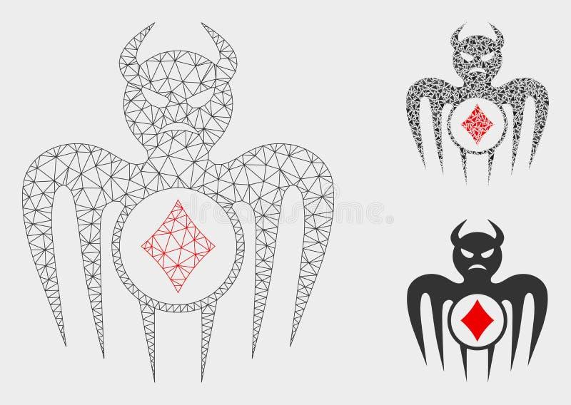 Spielende Erscheinungs-Teufel-Vektor-Maschen-2D Modell-und Dreieck-Mosaik-Ikone lizenzfreie abbildung