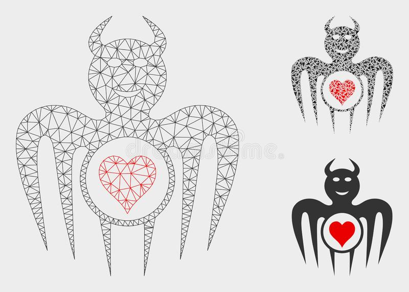 Spielende glückliche Teufel-Vektor-Maschen-2D Modell-und Dreieck-Mosaik-Ikone lizenzfreie abbildung