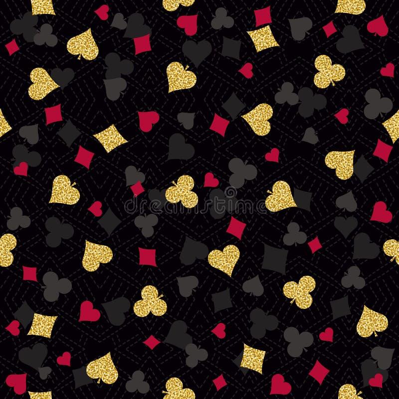 Spielender Pokerhintergrund des nahtlosen Kasinos mit dem Rot, schwarz stock abbildung