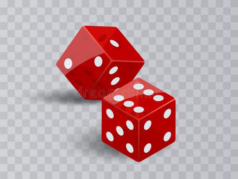 Spielendes Kasino mit zwei Würfeln Der rote Poker berechnet Vektors lokalisiert auf transparentem Hintergrund vektor abbildung