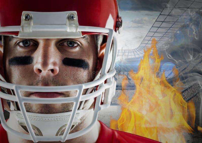 Spieler des amerikanischen Fußballs mit Flammen und Stadion im Hintergrund vektor abbildung