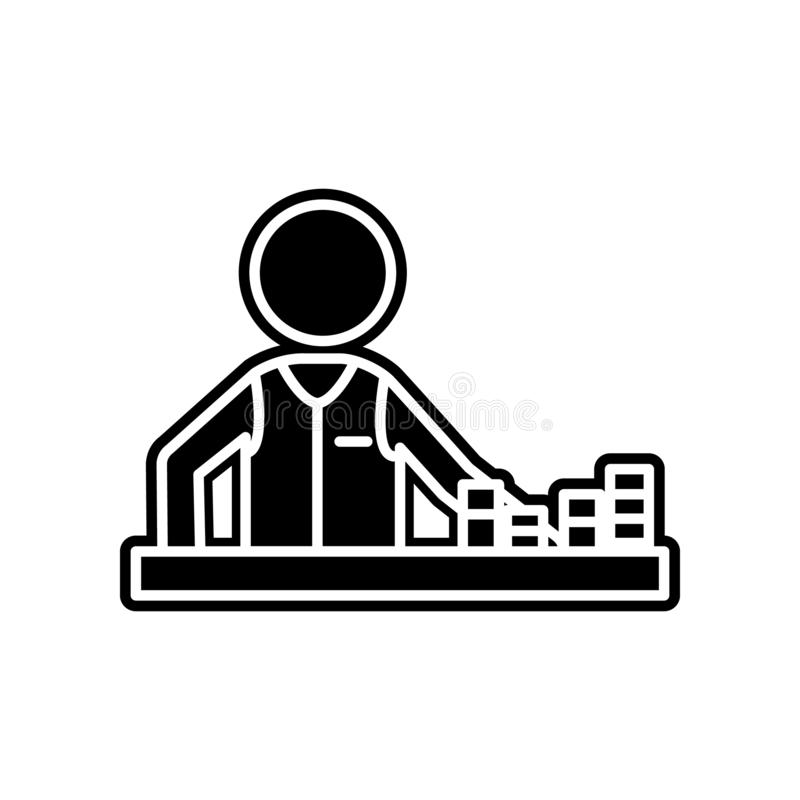 Spieler in einem Kasino mit Chipikone Element des Kasinos f?r bewegliches Konzept und Netz Appsikone Glyph, flache Ikone f?r Webs vektor abbildung