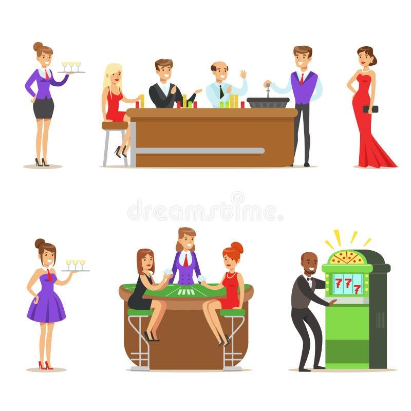 Spieler im schicken Kasino in Vegas, der Poker, Roulette-und Spielautomat-lächelnde Spieler, Kellner und Händler spielt stock abbildung