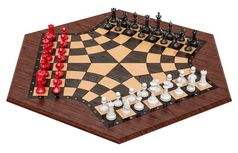 3 Spieler-Schach oder drei Mann-Schach Wiedergabe 3d lizenzfreie abbildung