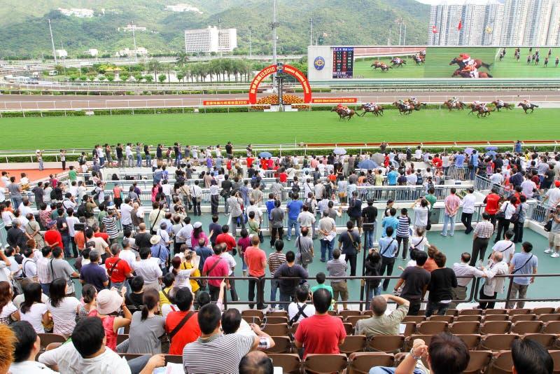 Spieler Sha Tin Racecourse, die im Zahlwerk spielen lizenzfreie stockbilder