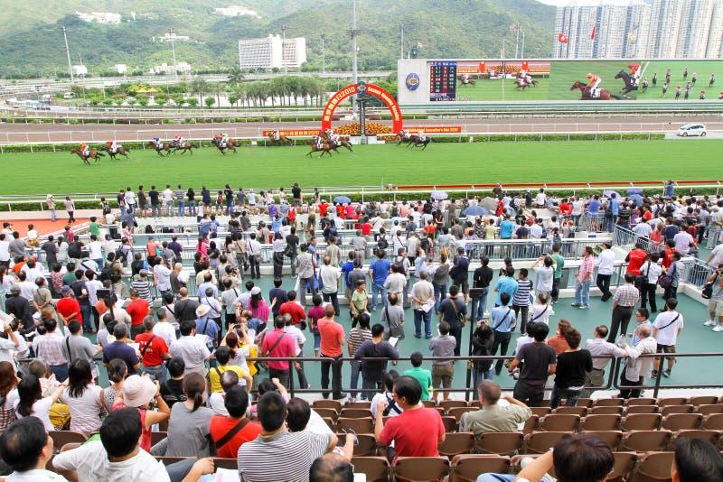 Spieler Sha Tin Racecourse, die im Zahlwerk spielen lizenzfreies stockfoto