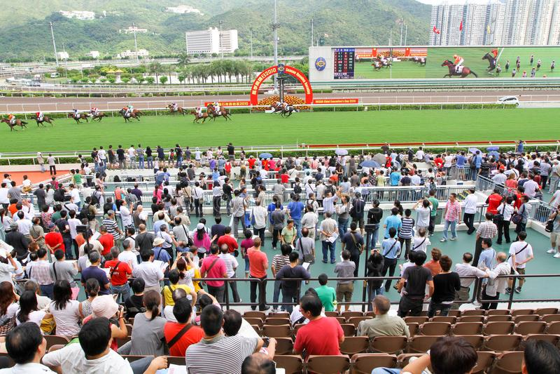 Spieler Sha Tin Racecourse, die im Zahlwerk spielen stockbilder