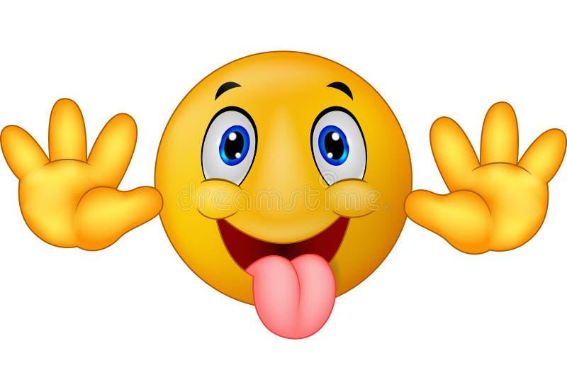 Spielerische Emoticonsmileykarikatur im Scherz fest heraus seine Zunge lizenzfreie abbildung