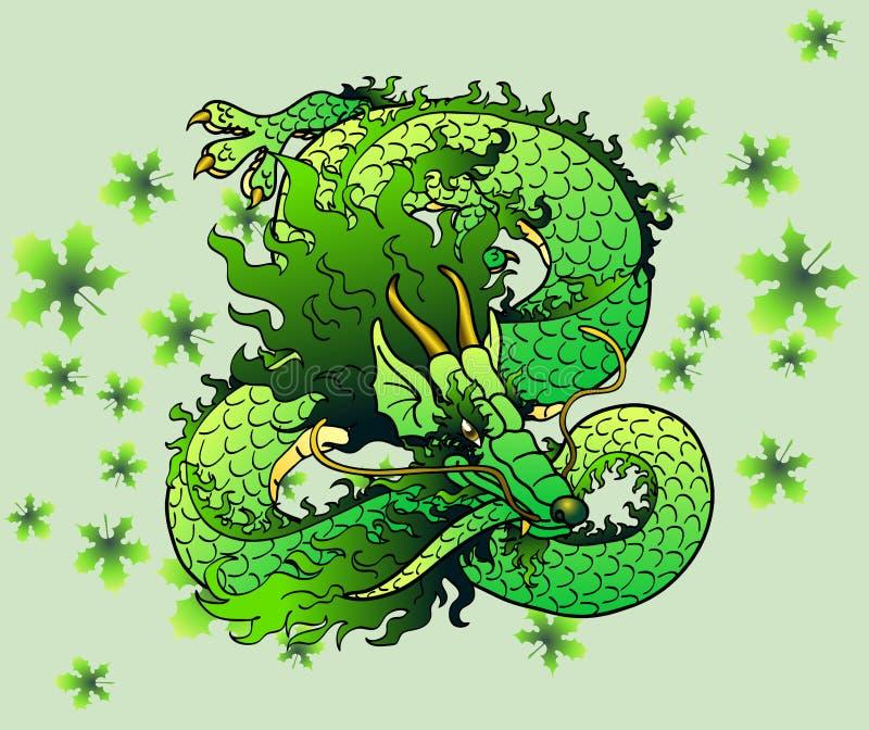 Spielerischer grüner hölzerner asiatischer Drache auf Blättern stock abbildung