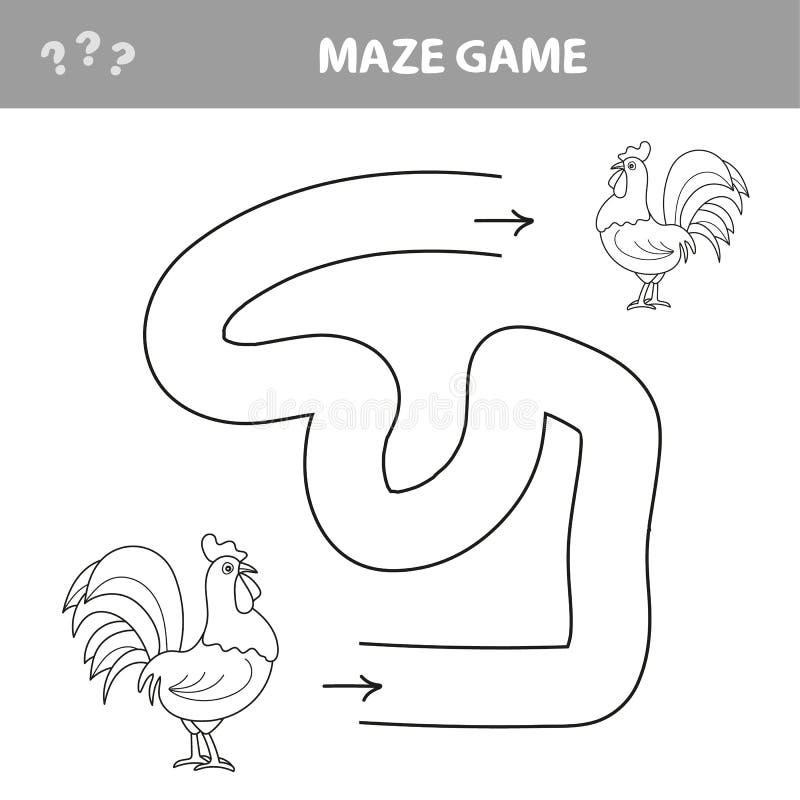 Spielhühnerlabyrinthentdeckungsweise miteinander stock abbildung