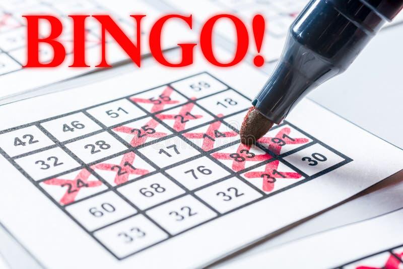 Spielheimsieg am wöchentlichen Bingo stockfotos