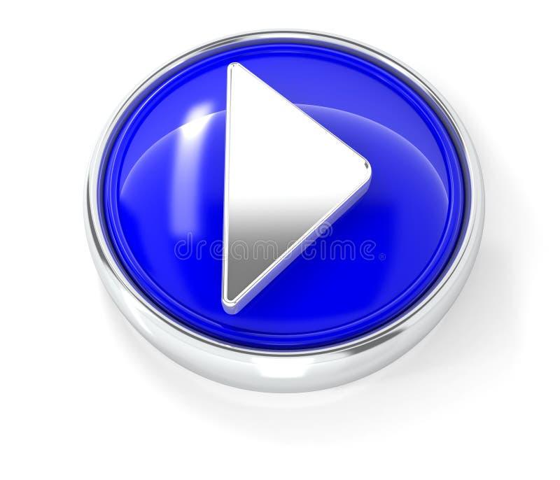 Spielikone auf glattem blauem rundem Knopf stock abbildung