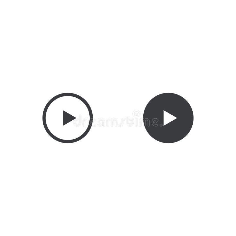 Spielikone mit zwei Vektoren lokalisiert auf weißem Hintergrund Element für Entwurf beweglichen App, Website oder Musikspieler Ei vektor abbildung