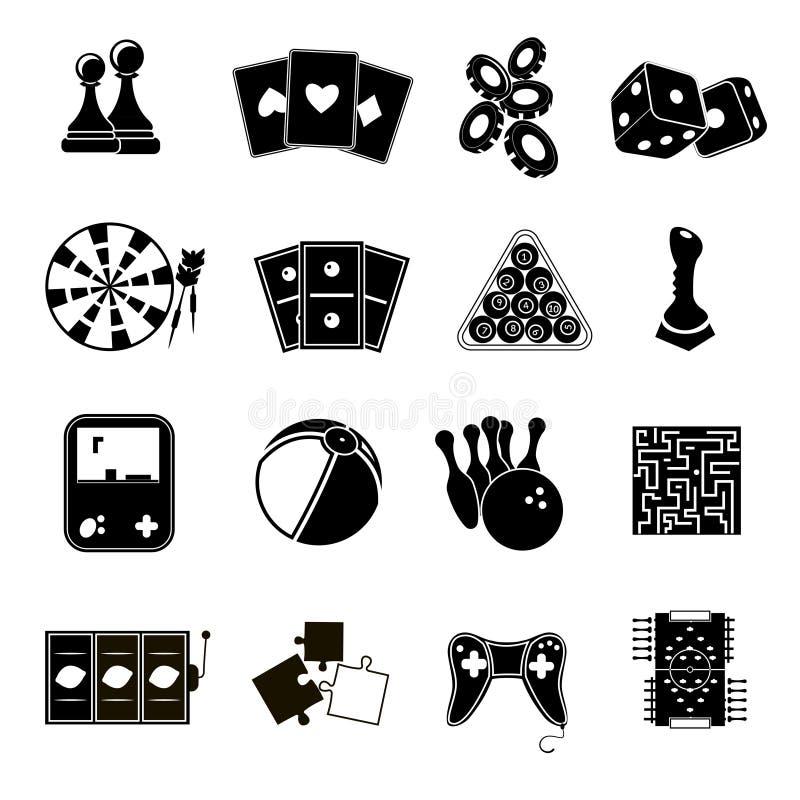 Spielikonen schwarz eingestellt lizenzfreie abbildung