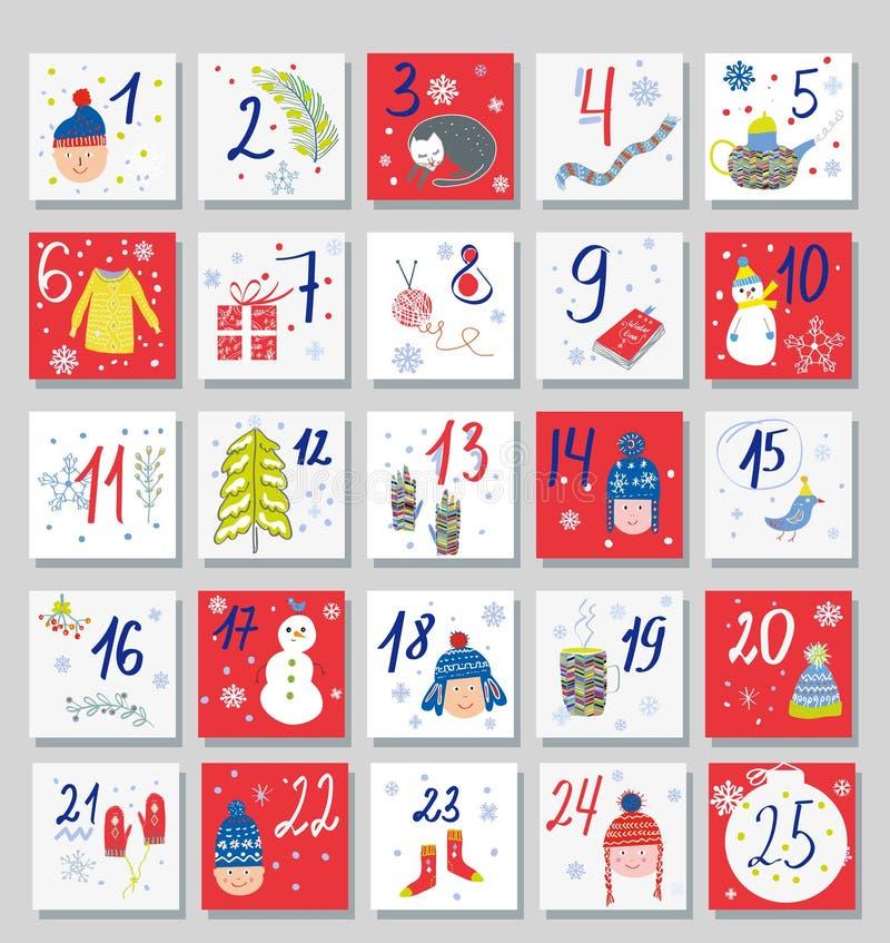 Spielkalender lustige Karten für Kinder Vector-Illustration lizenzfreie abbildung