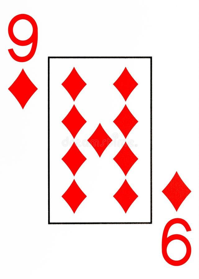 Spielkarte 9 des großen Index von Diamanten lizenzfreie abbildung