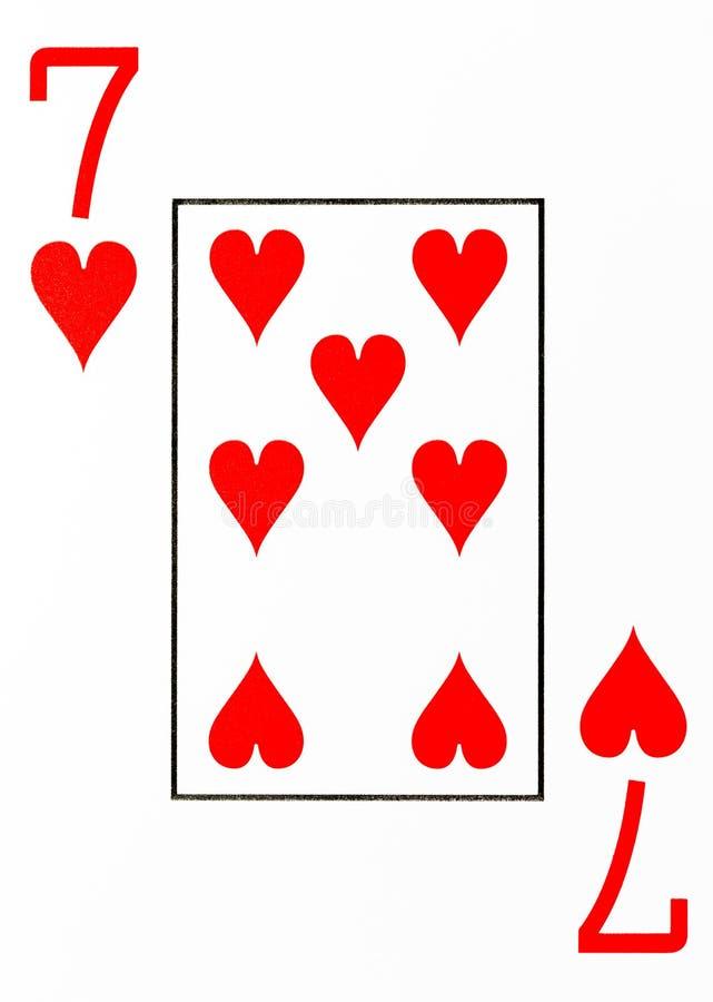 Spielkarte 7 des großen Index von Herzen stock abbildung