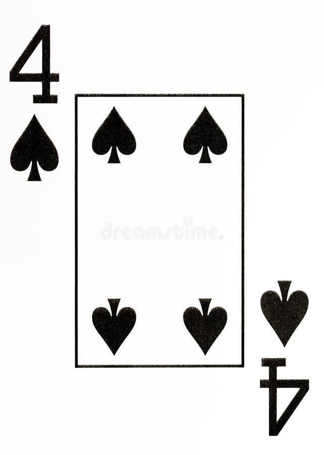 Spielkarte 4 des großen Index von Spaten lizenzfreie abbildung