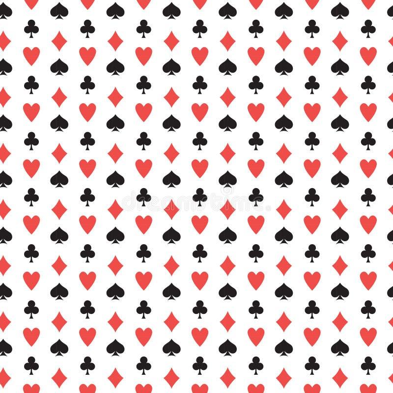 Spielkarte-Klagen-nahtloses Muster Diamanten, Clubs, Herzen, Spaten, die Beschaffenheit wiederholen Endloser Hintergrund des Poke stock abbildung
