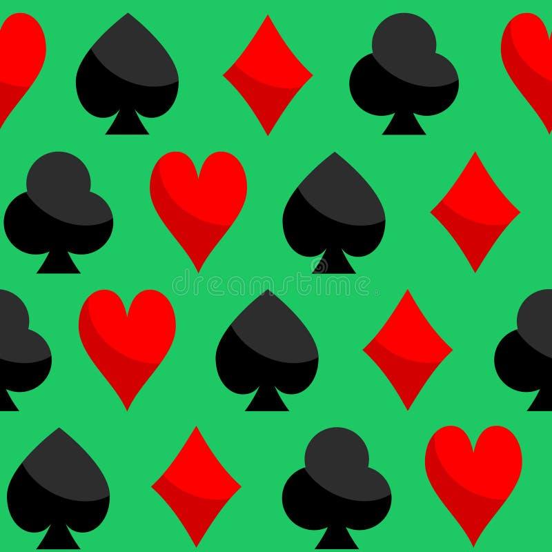 Spielkarte-nahtloser Muster-Vektor von Herz-Diamant-Club-Spaten stock abbildung
