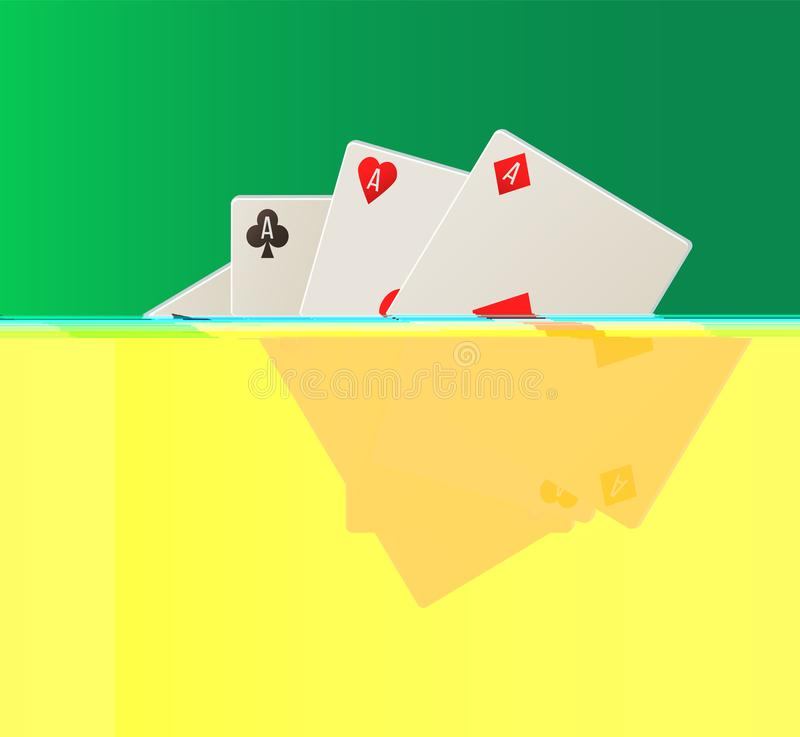 Spielkarte, Plattform von Assen, spielender Ikonen-Vektor lizenzfreie abbildung