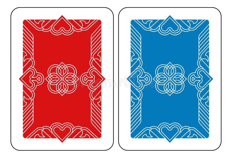 Spielkarte-Rückseiten-Rückseite in Rotem und in Blauem lizenzfreie abbildung