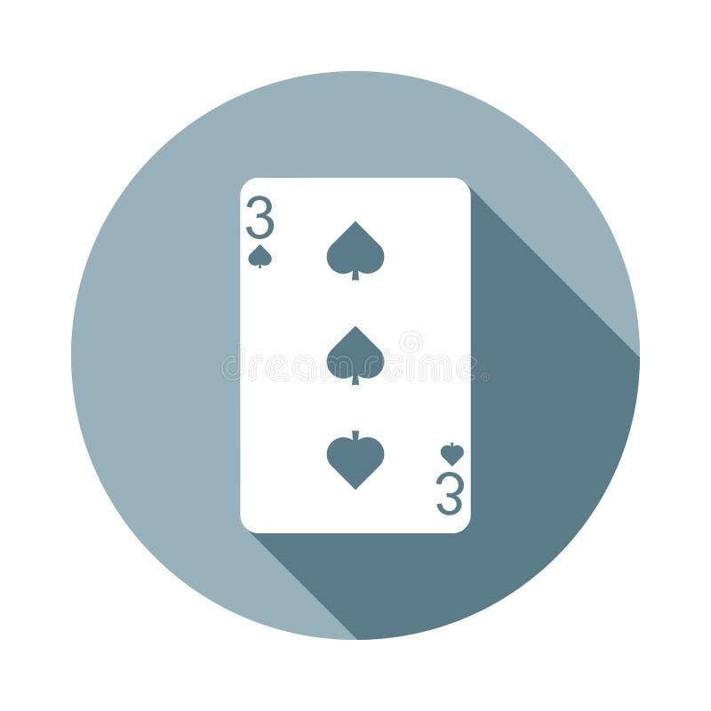 Spielkarte, ragen die Ikone mit drei Karten in der flachen langen Schattenart empor Ein der Netzsammlungsikone kann für UI, UX ve vektor abbildung