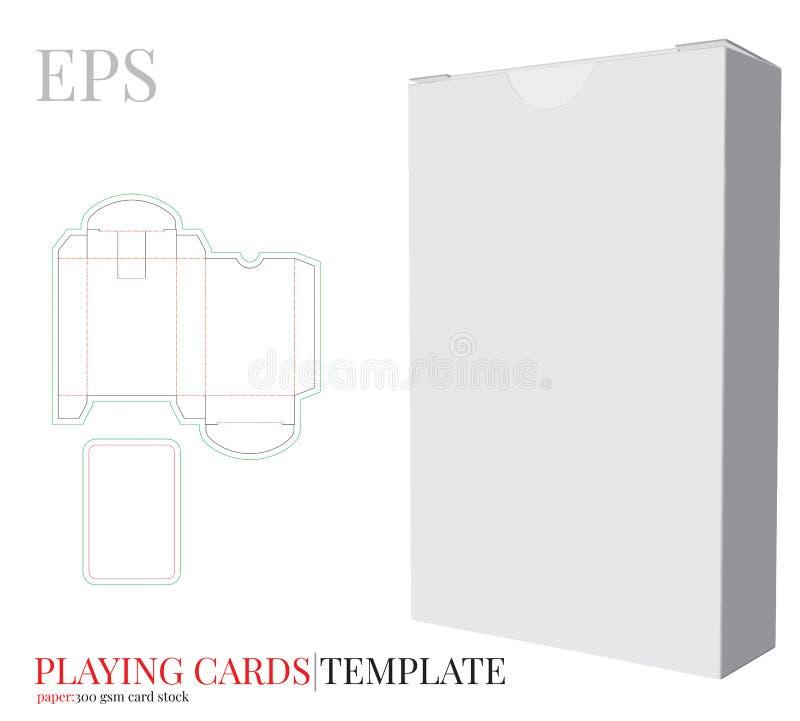 Spielkarte-Schablonen-und Spielkarte-Kasten-Schablonen-Vektor mit den gestempelschnittenen/Laser-Schnittlinien Spielkarte-Kastens lizenzfreie abbildung