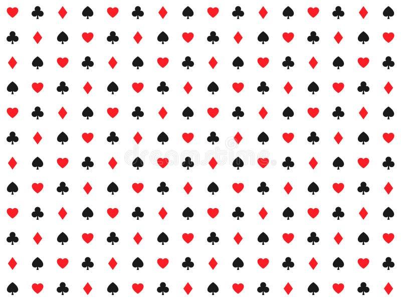Spielkarte unterzeichnet nahtloses Muster, Kasinohintergrund, Herzen vektor abbildung