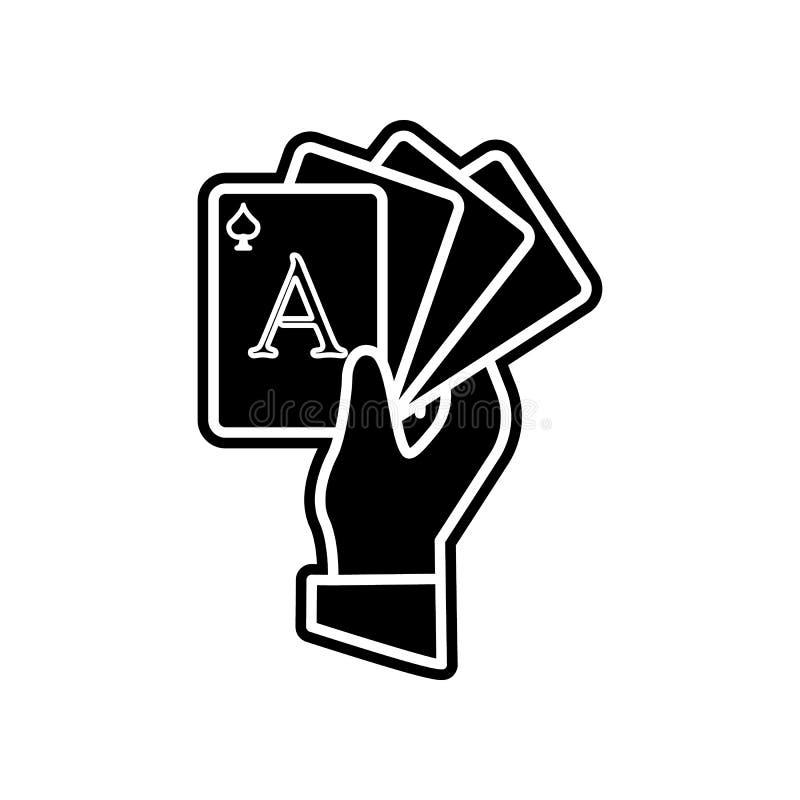 Spielkarteikone der Handgriffe Element des Kasinos f?r bewegliches Konzept und Netz Appsikone Glyph, flache Ikone f?r Websiteentw stock abbildung