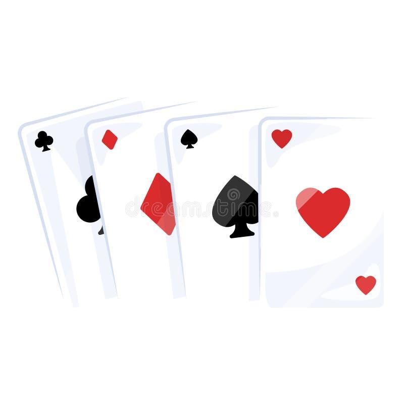 Spielkarteikone, klassischer spielender Entwurfssatz lizenzfreie abbildung
