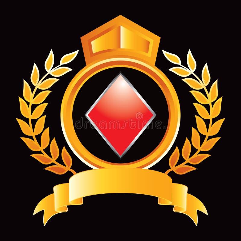 Spielkarteklage des Diamanten im orange königlichen Scheitel lizenzfreie abbildung
