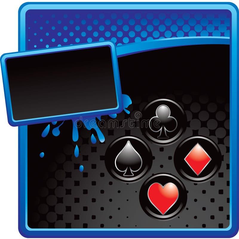 Spielkarteklagen auf grungy Halbtonfahne stock abbildung