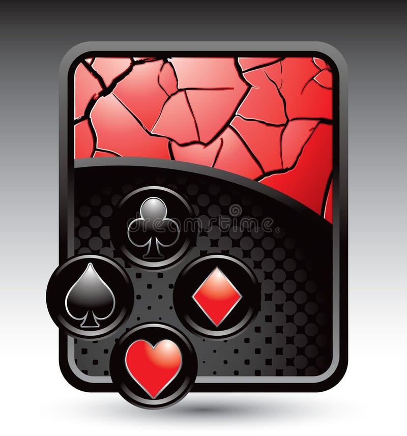 Spielkarteklagen auf rotem gebrochenem Hintergrund stock abbildung