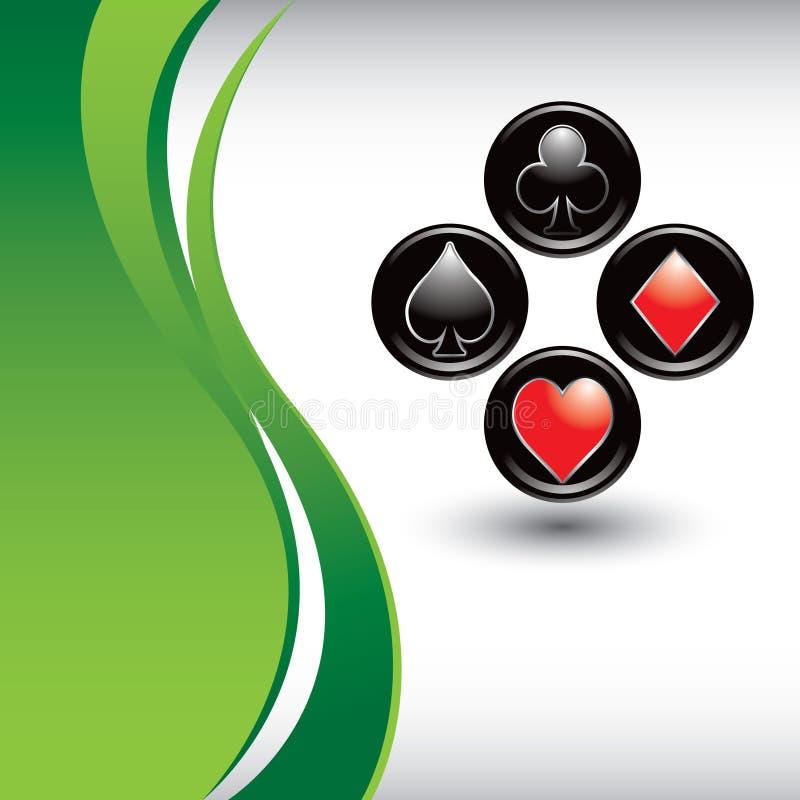 Spielkarteklagen auf vertikalem Hintergrund der grünen Welle lizenzfreie abbildung