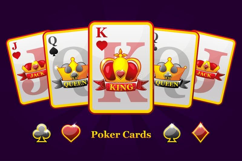 Spielkarteklagen Königs, der Königin und der Steckfassung mit Krone und Band Sch?rhakensymbole f?r Kasino und GUI-Grafik lizenzfreie abbildung
