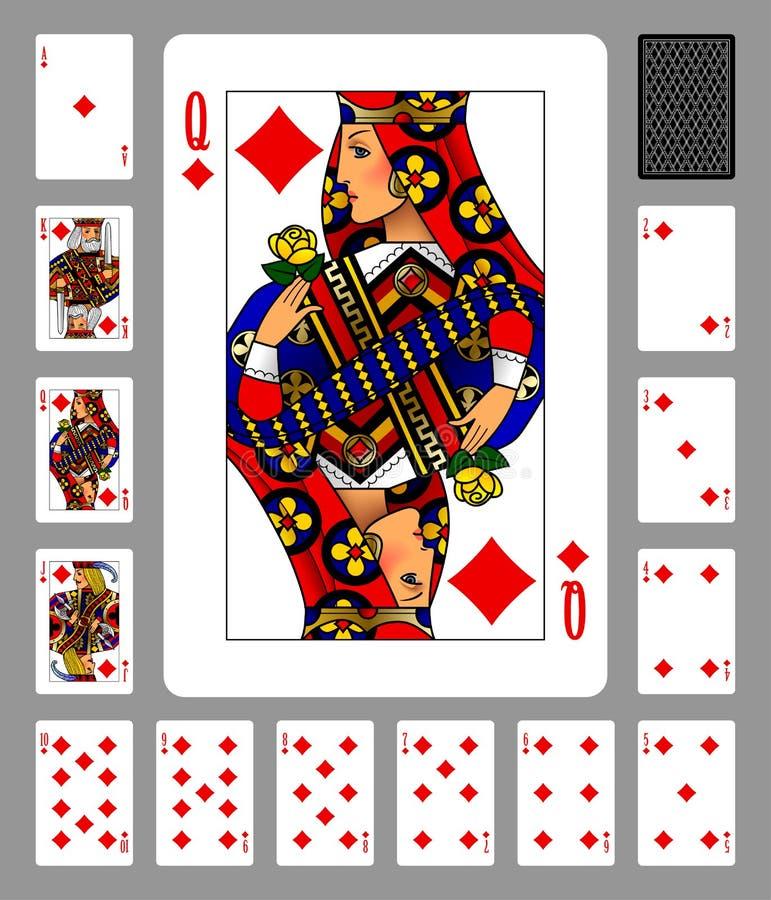 Spielkarten der Diamantklage und -rückseite auf grünem Hintergrund vektor abbildung