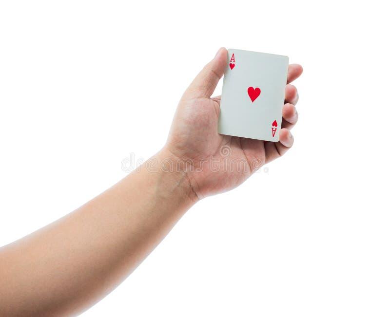 Spielkarten in der Hand lokalisiert auf weißem Hintergrund lizenzfreie stockfotos