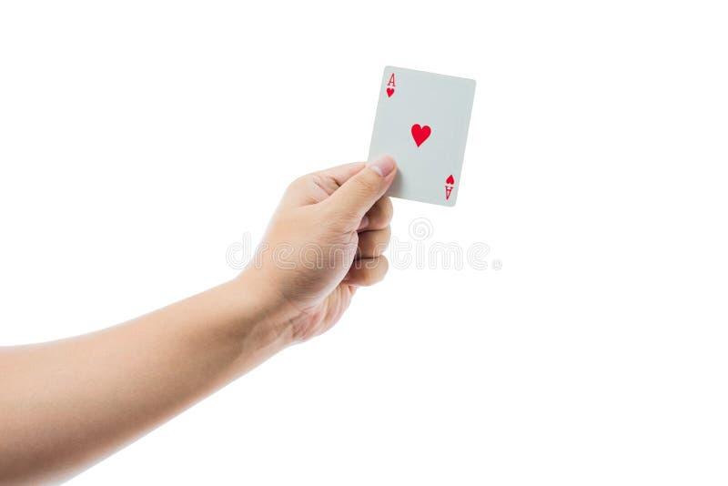 Spielkarten in der Hand lokalisiert auf weißem Hintergrund lizenzfreie stockbilder