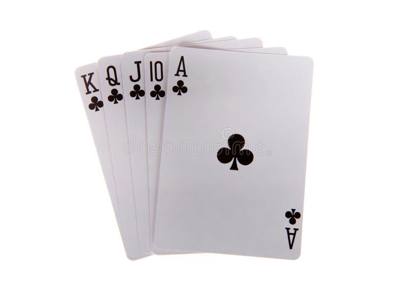 Spielkarten des Royal Flushs lokalisiert lizenzfreies stockfoto