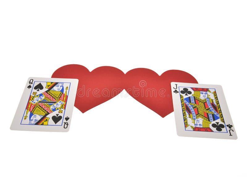 Spielkarten lokalisiert auf weißem Hintergrund lizenzfreie stockfotos