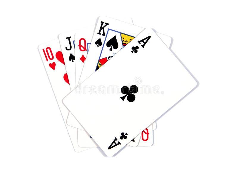 Spielkarten - lokalisiert auf wei?em Hintergrund K?nigliches Err?ten Spielkarten getrennt auf einem wei?en Hintergrund stockbild