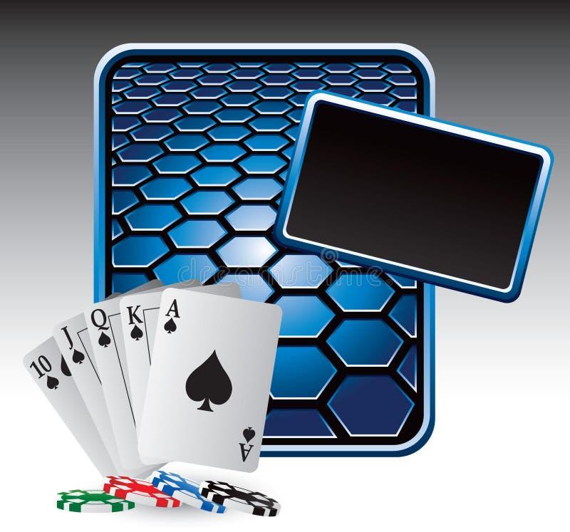 Spielkarten und Chips auf blauer Hexagonanzeige vektor abbildung