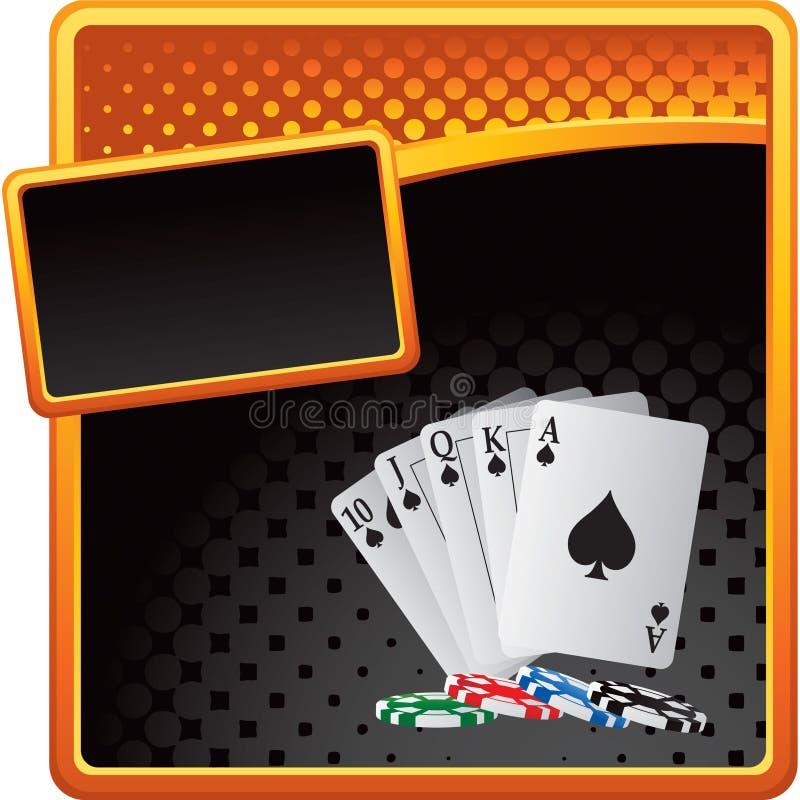 Spielkarten und Chips auf Halbtonreklameanzeige lizenzfreie abbildung