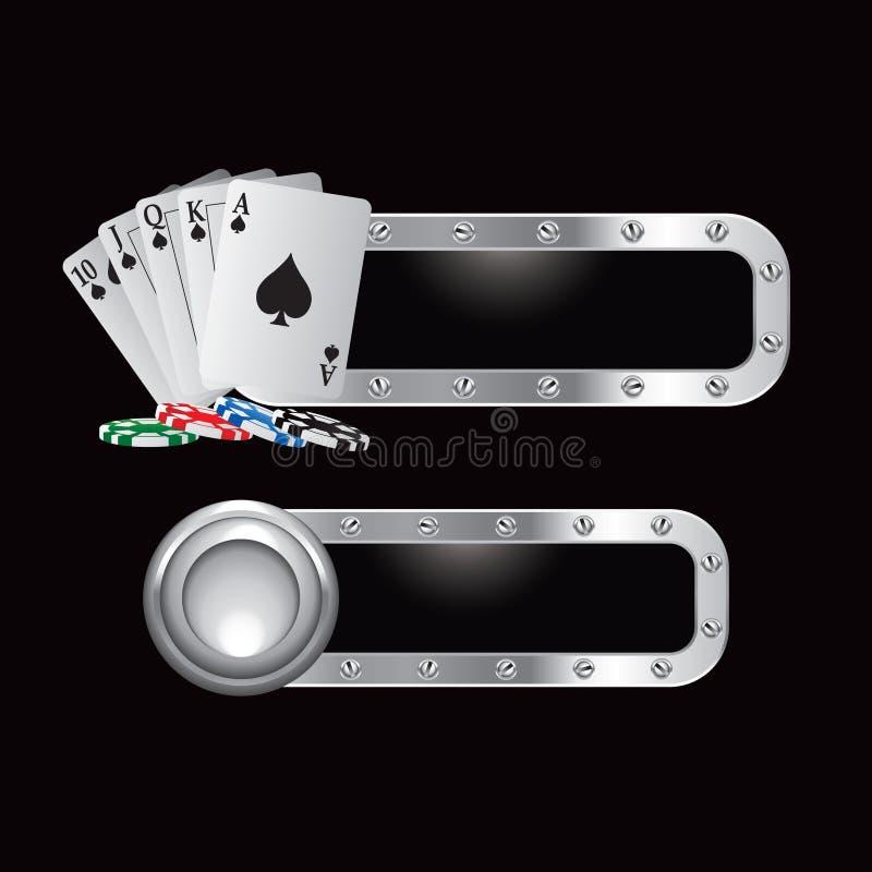 Spielkarten und Chips auf Metallfahnen lizenzfreie abbildung