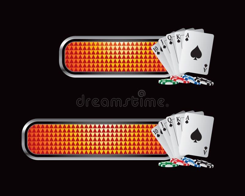 Spielkarten und Chips auf orange checkered Tabulatoren stock abbildung